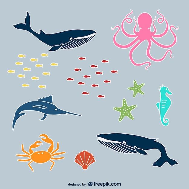 Sea animals Free Vector