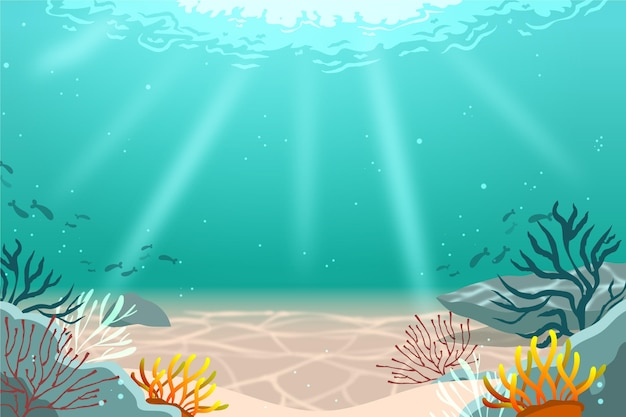 Under the sea background for video conferencing Premium Vector