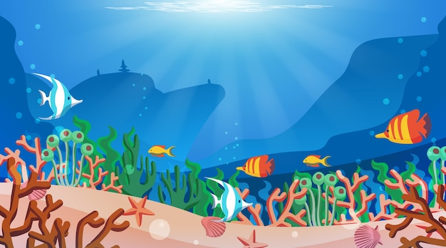 Under the sea - background for video conferencing Free Vector
