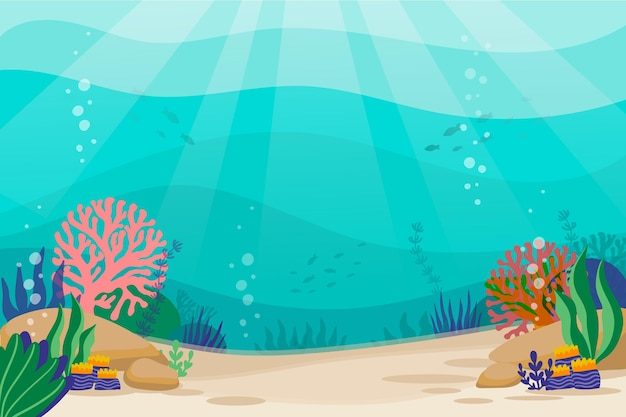 Under the sea background for video conferencing Free Vector