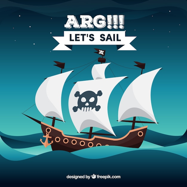 Sea background with pirate ship Free Vector