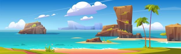 Морской пляж с большими скалами Бесплатные векторы