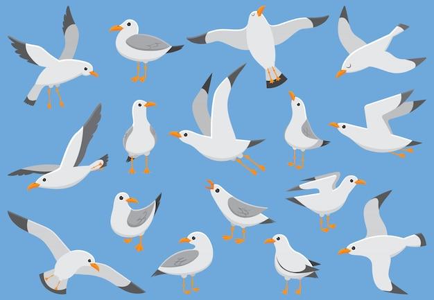Sea birds, gull cartoon vector illustration Premium Vector