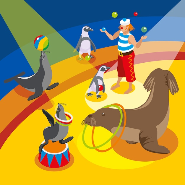 Sea circus isometric composition with juggling clown and animals performing spectacle on arena Free Vector