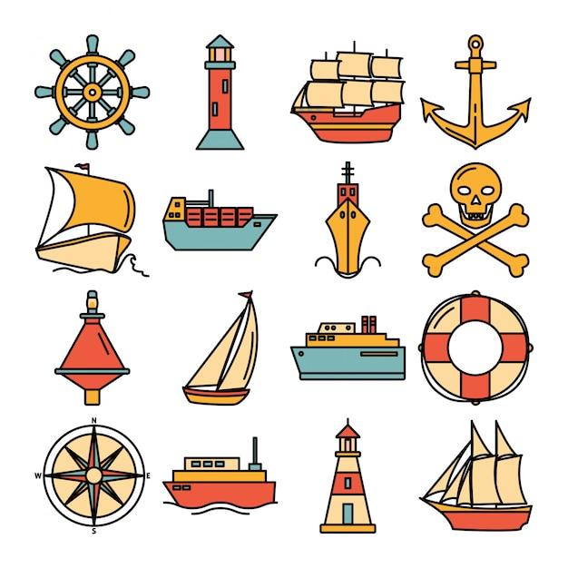 Sea collection of ship icons Premium Vector