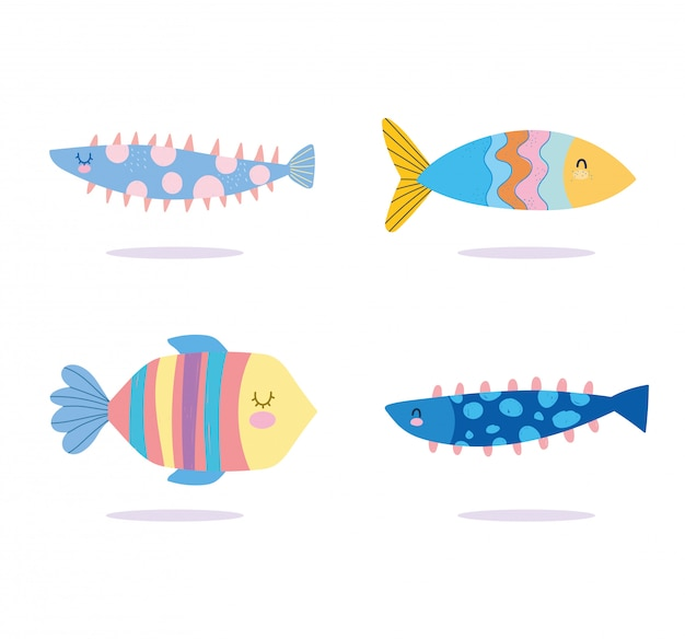 Under the sea, colored fishes wide marine life landscape cartoon Premium Vector
