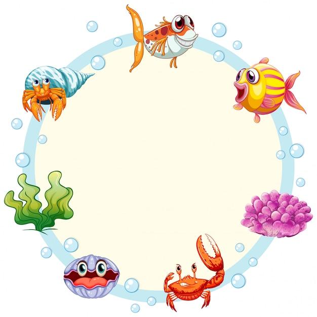 Sea creature frame with copyspace Premium Vector