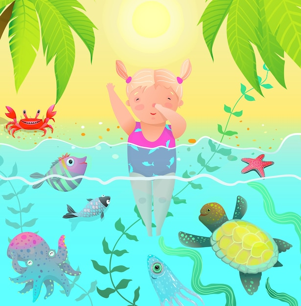 Sea creatures and cute child baby girl jumping into water with ocean sea creatures. Premium Vector