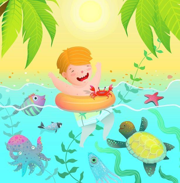 Sea creatures paradise vacation island and cute child baby boy swim with ring in the ocean with sea creatures. Premium Vector