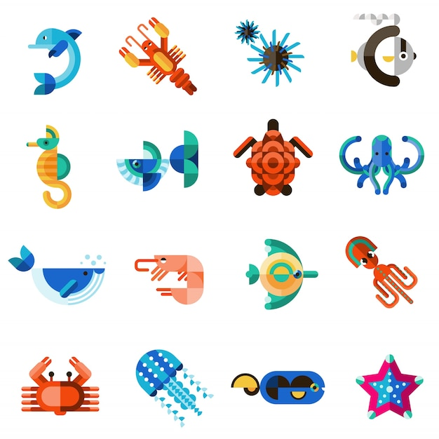 Sea creatures set Free Vector