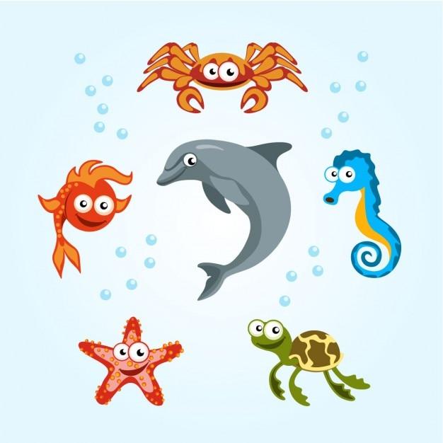 Sea creatures Free Vector