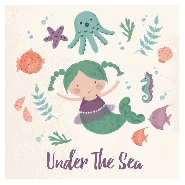 Under the sea creatures Premium Vector