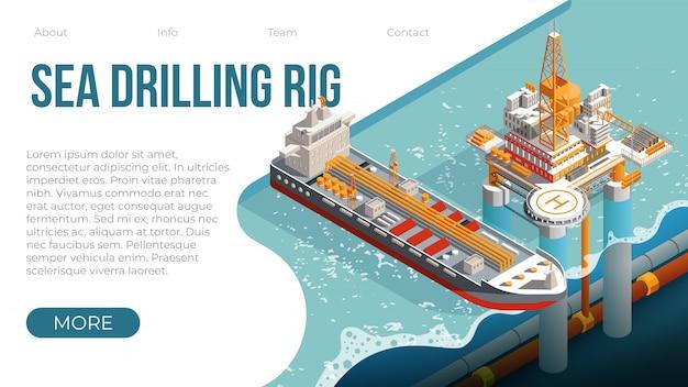 Морская буровая платформа для газа и нефти Premium векторы