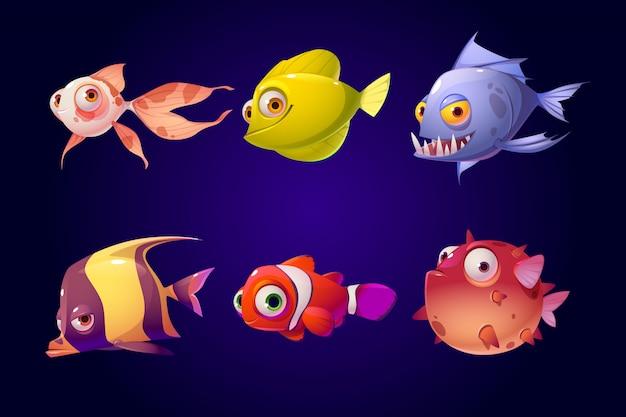 Морские рыбы, тропический набор красочных аквариумных существ Бесплатные векторы