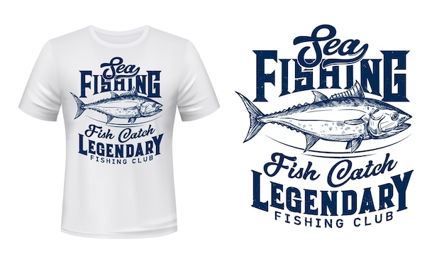 Sea fishing club t-shirt  print with tuna fish. big tunny, saltwater commercial fish, big game trophy engraved illustration and typography. fishermen club clothing custom  print Premium Vector