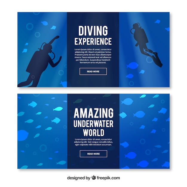 Sea Floor Banners With Fishes And Scuba Divers Vector