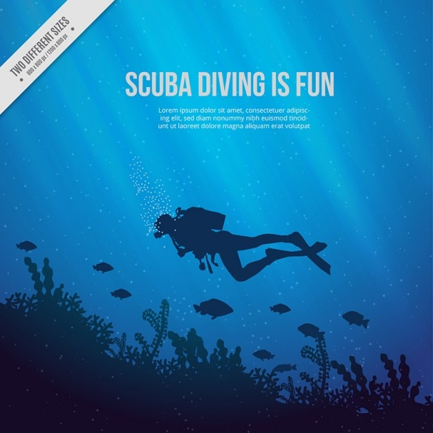 Sea floor with scuba diver and seaweeds blue background Free Vector