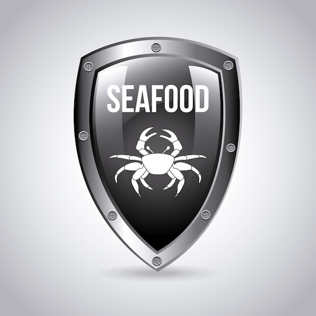 Sea food emblem Free Vector