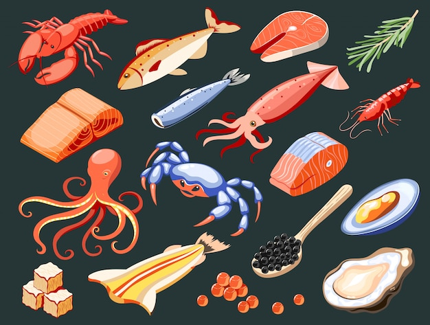 Sea food isolated isometric colored icons with salmon filet calamari caviar mussels crabs oysters shark meat illustration Free Vector