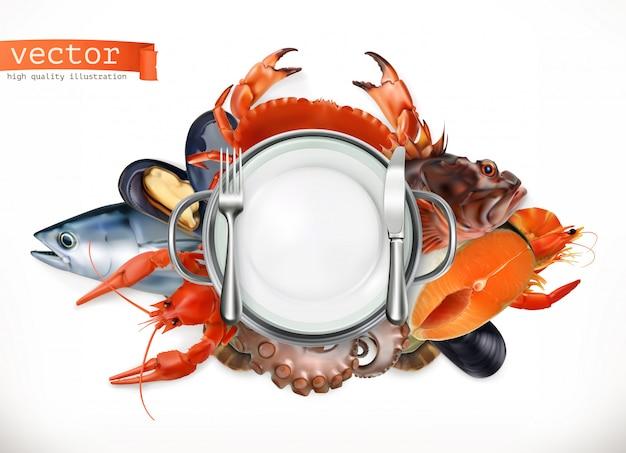 海の食べ物のロゴ。魚、カニ、ザリガニ、ムール貝、タコ3d、リアリズムスタイル Premiumベクター