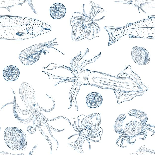 Sea food seamless pattern Premium Vector