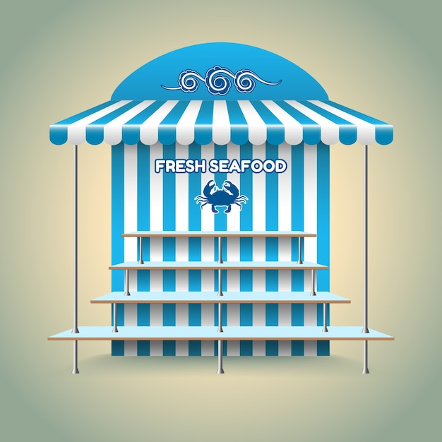 Sea food stand. kiosk and shop, retail and fish, fresh nutrition. Free Vector