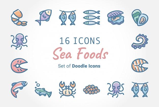 Sea foods вектор баннер дизайн иконок Premium векторы