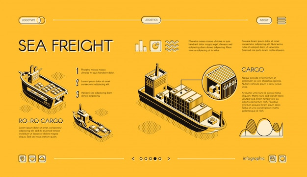 Sea freight transport isometric web banner, horizontal, slider website template with ro-ro Free Vector