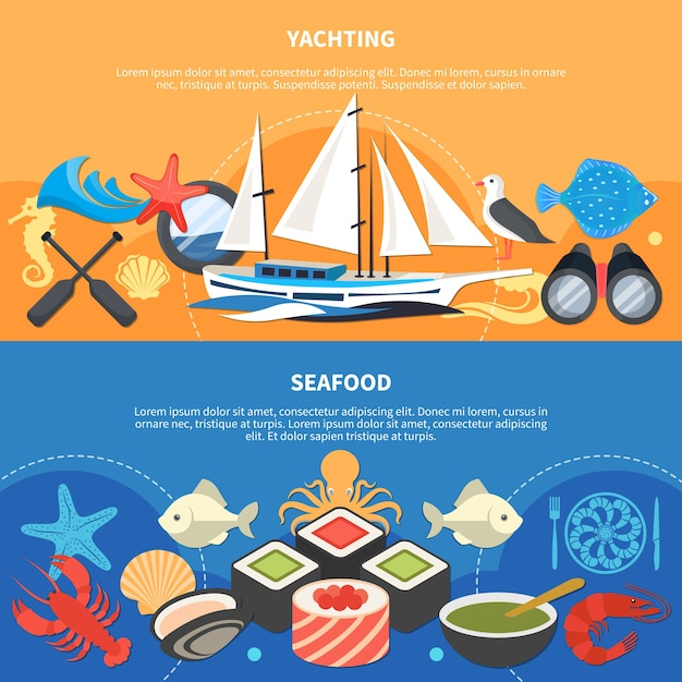 Sea horizontal banners set with seafood symbols flat isolated Free Vector