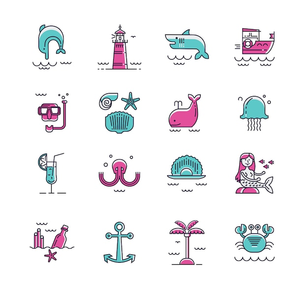 Sea icon set Premium Vector