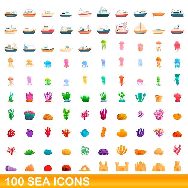 Набор морских иконок. карикатура иллюстрации морских иконок на белом фоне Premium векторы