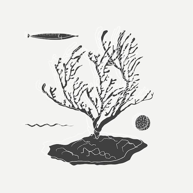 Under the sea illustration Free Vector