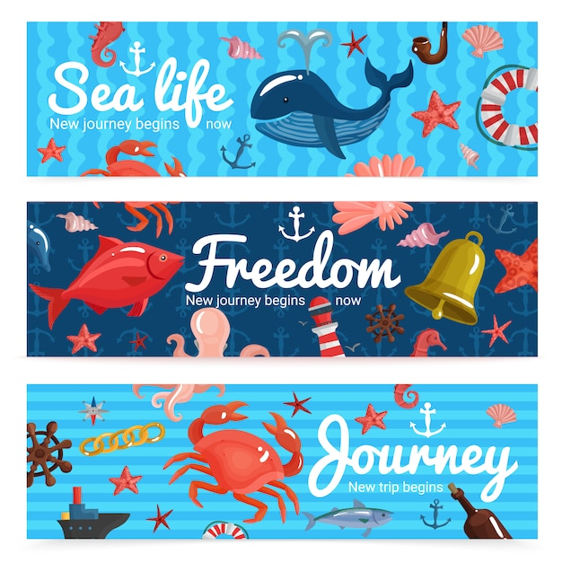 Sea journey horizontal banners Free Vector
