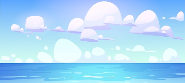 Морской пейзаж с поверхностью спокойной воды и облаками в голубом небе. Бесплатные векторы