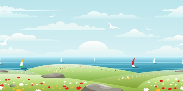 Sea landscape with sails on horizon seamless pattern Free Vector