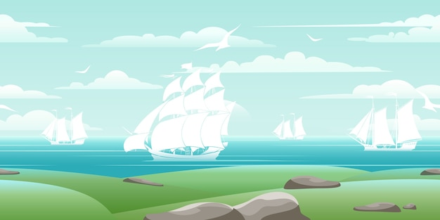 Sea landscape with ships. travel boat, water nature, ocean and seagull, vector illustration Free Vector