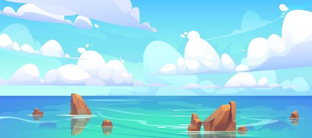 물과 구름에 돌으로 바다 풍경 무료 벡터