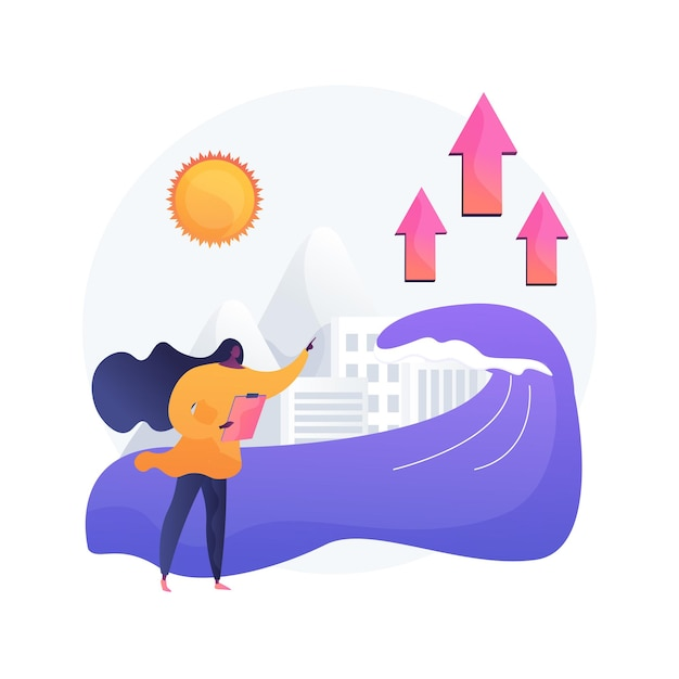 海面上昇の抽象的な概念図。世界の海面上昇レポート、世界の海面データ、水揚げの原因、洪水の結果、氷の融解、環境問題 無料ベクター