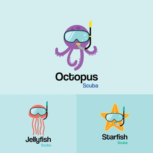 Sea life animal  scuba logo template. octopus, jellyfish, starfish with scuba diving mask in flat design for diving and snorkeling equipment shop, diving school. Premium Vector