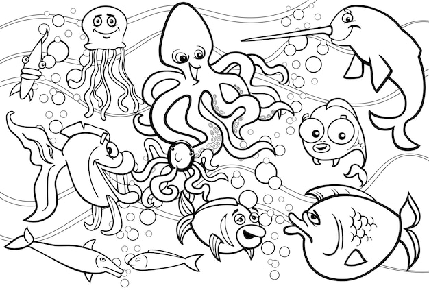 Sea life animals group coloring page Vector | Premium Download