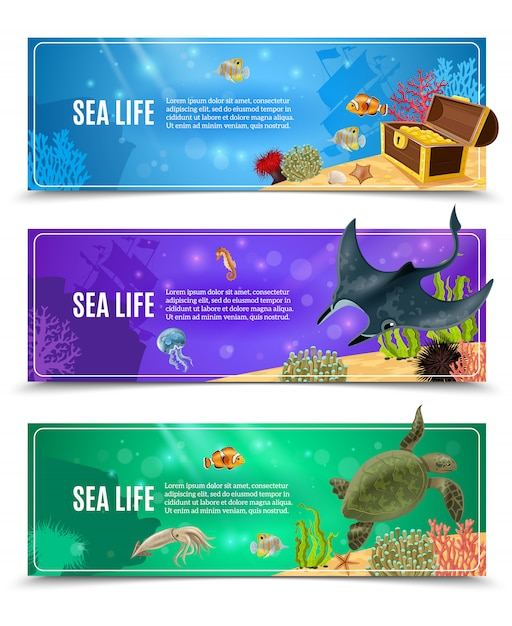 Sea life banner set Free Vector