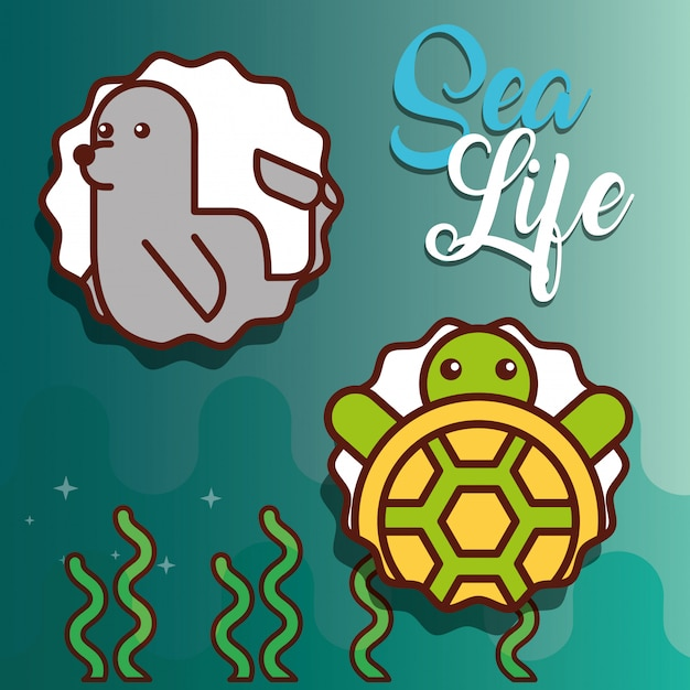 Sea life cartoon Premium Vector