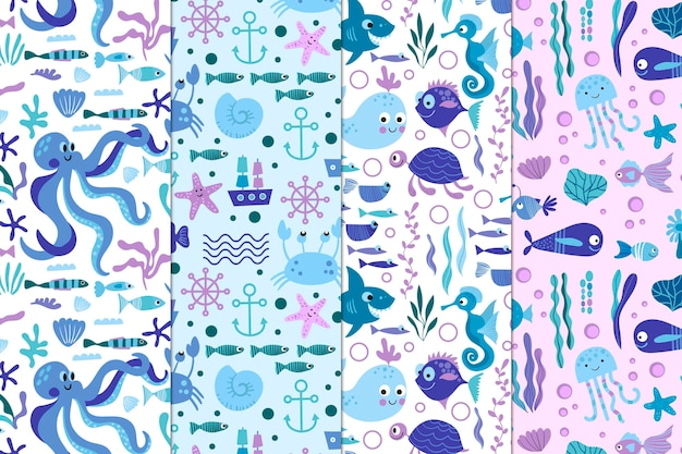 Sea life pattern collection Free Vector