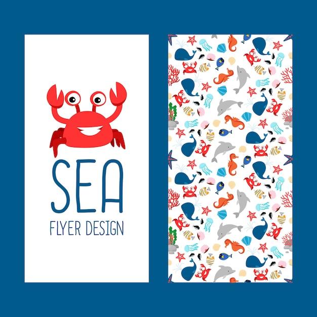 Sea life vertical flyer design Premium Vector