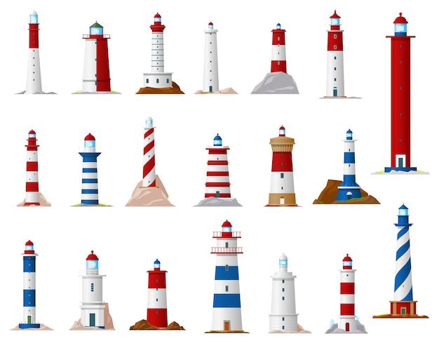 Морской маяк и маяковая башня Premium векторы
