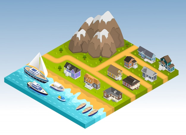 Sea line isometric composition Free Vector