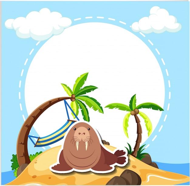 Leone marino sulla spiaggia Vettore gratuito
