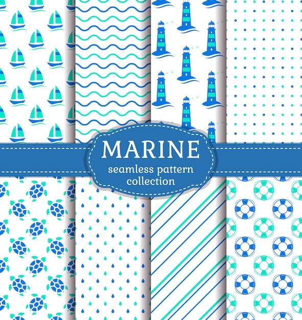 Sea and nautical seamless patterns set. Premium Vector
