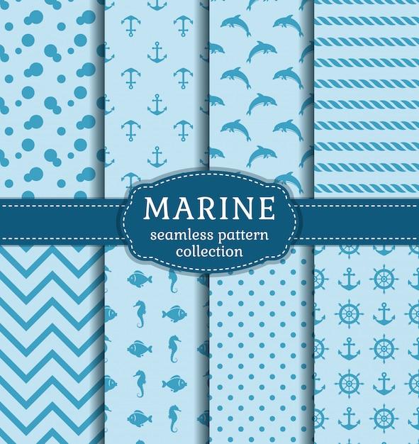 Sea and nautical seamless patterns set. Premium Vector