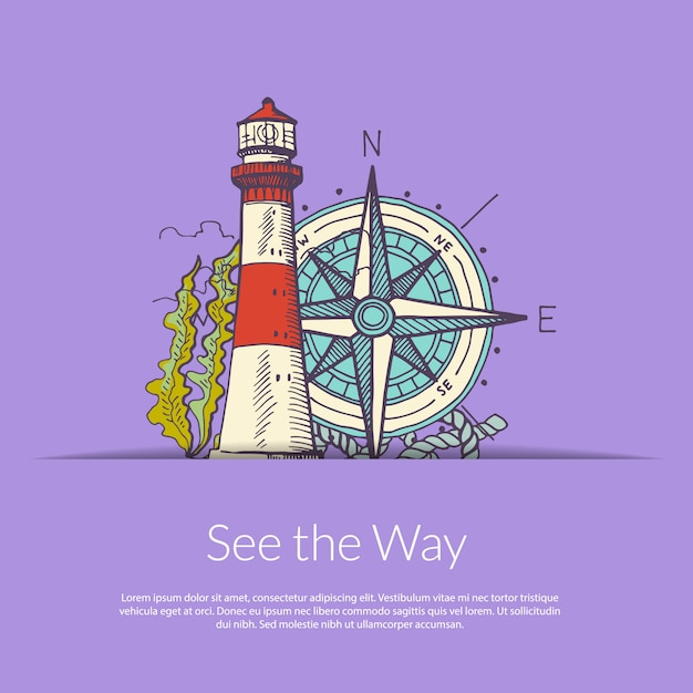 Sea navigation lighthouse and wind rose. Premium Vector